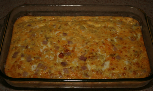 Ham and Cheese Breakfast Casserole out of the oven.