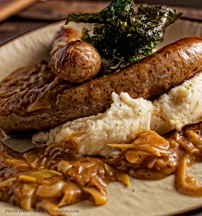 Bangers and Mash is a popular dish at Kegney Brothers Pub.