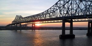 Bridge over the Mississippi River at Sunset
