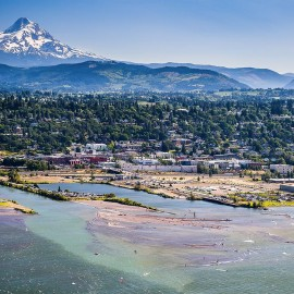 View of Hood River and Mt Hood
