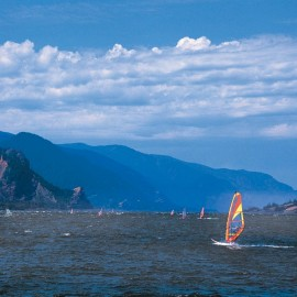 Wind surfing in the Columbia River Gorge