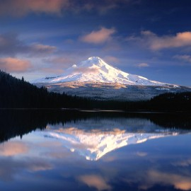 Reflection of Mt Hood on Alpine Lake