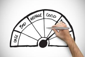 Display showing bad, average good, person selecting