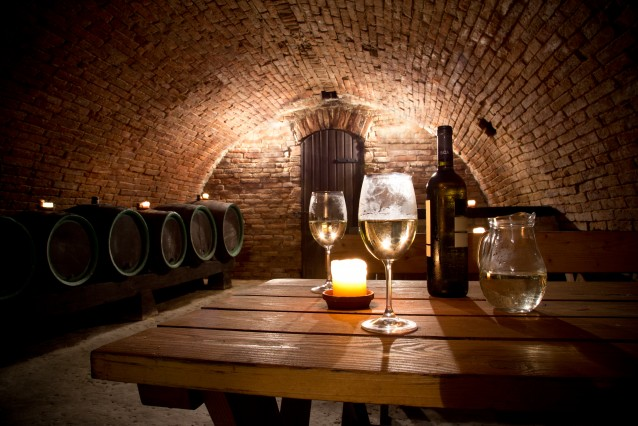 Wine cellar with wine bottle and glasses