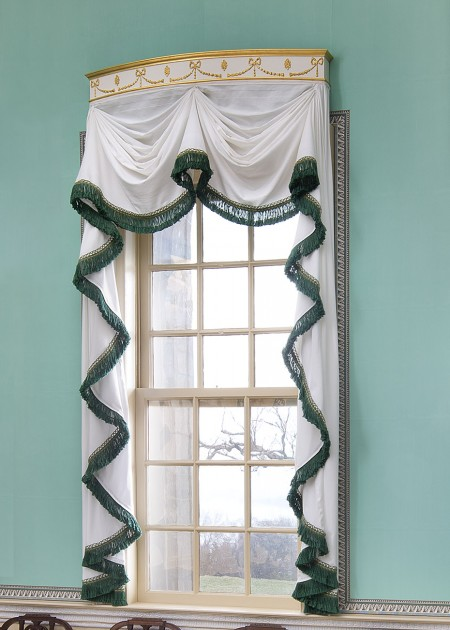 Cornice and curtains on the New Room's east window.
