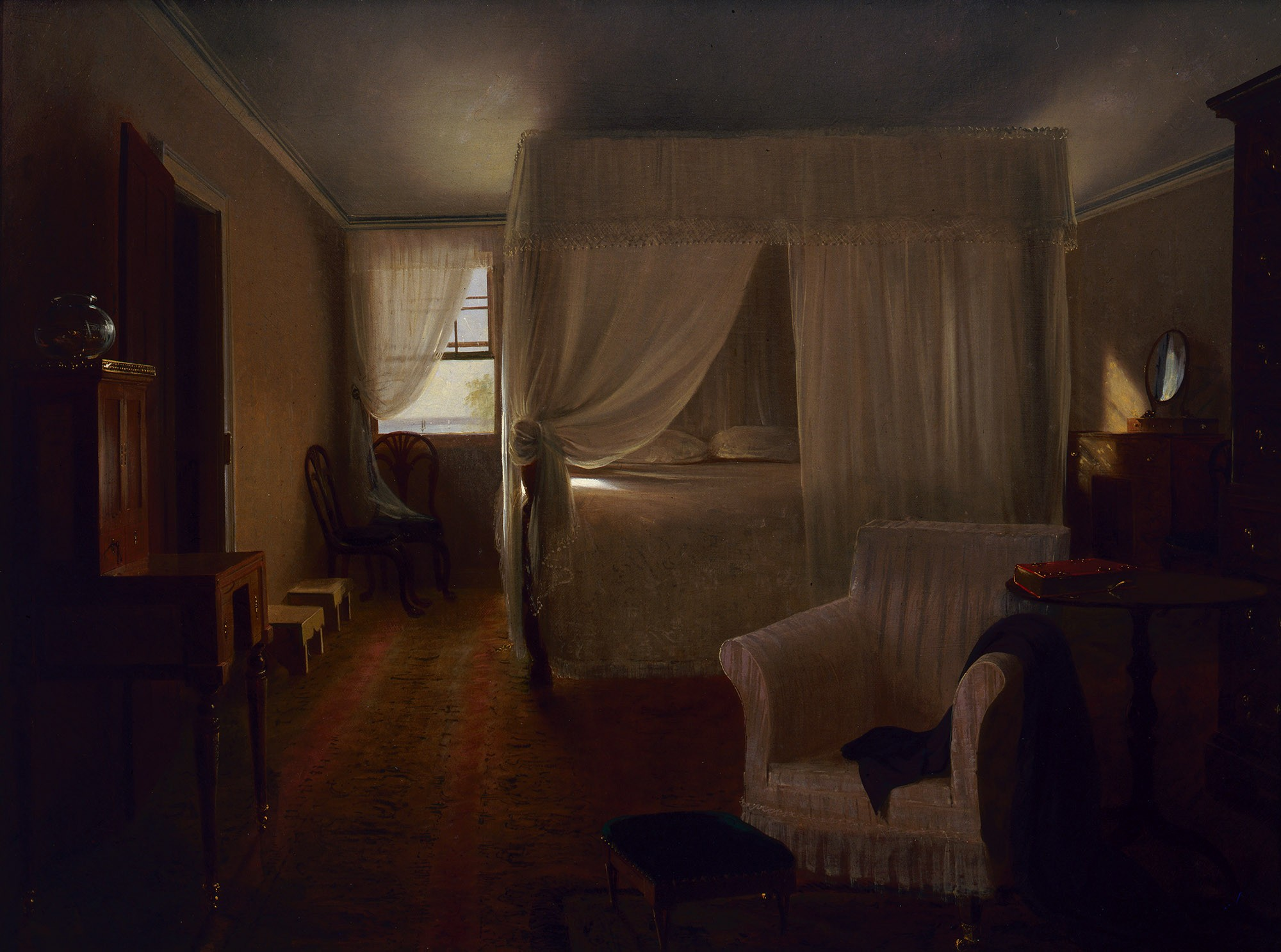 The Bedchamber Of Washington, In Which He Died, With All The Furniture, As  It Was At The Time, Drawn On The Spot By Permission Of Mrs. John Washington  Of ...
