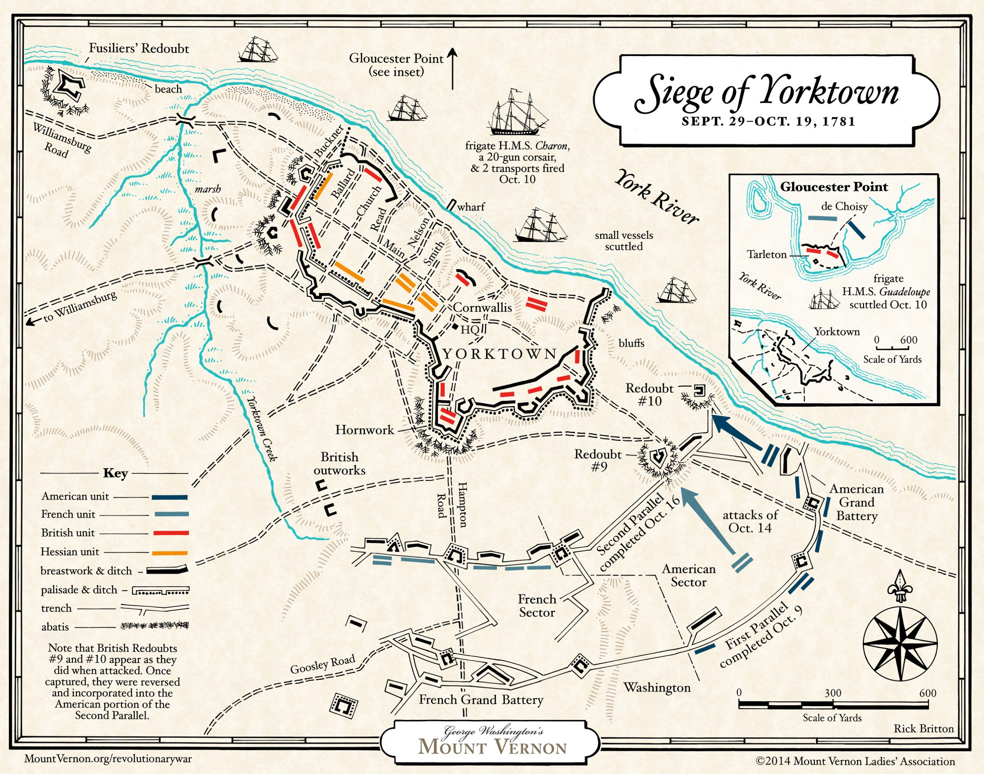 This detailed map from Mount Vernon looks at the the British, Hessian, French, and American positions at Yorktown in October 1781.  The map shows the attacks on Redoubts 9 and 10 - the attacks that led to Cornwallis' surrender.