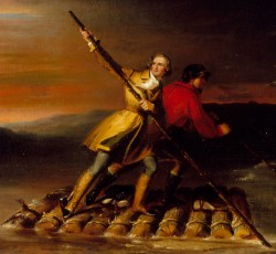 'Washington and Gist Crossing the Allegheny River' from the web at 'http://s3.amazonaws.com/mtv-main-assets/files/pages/gw-crossing-allegheny-2.jpg'