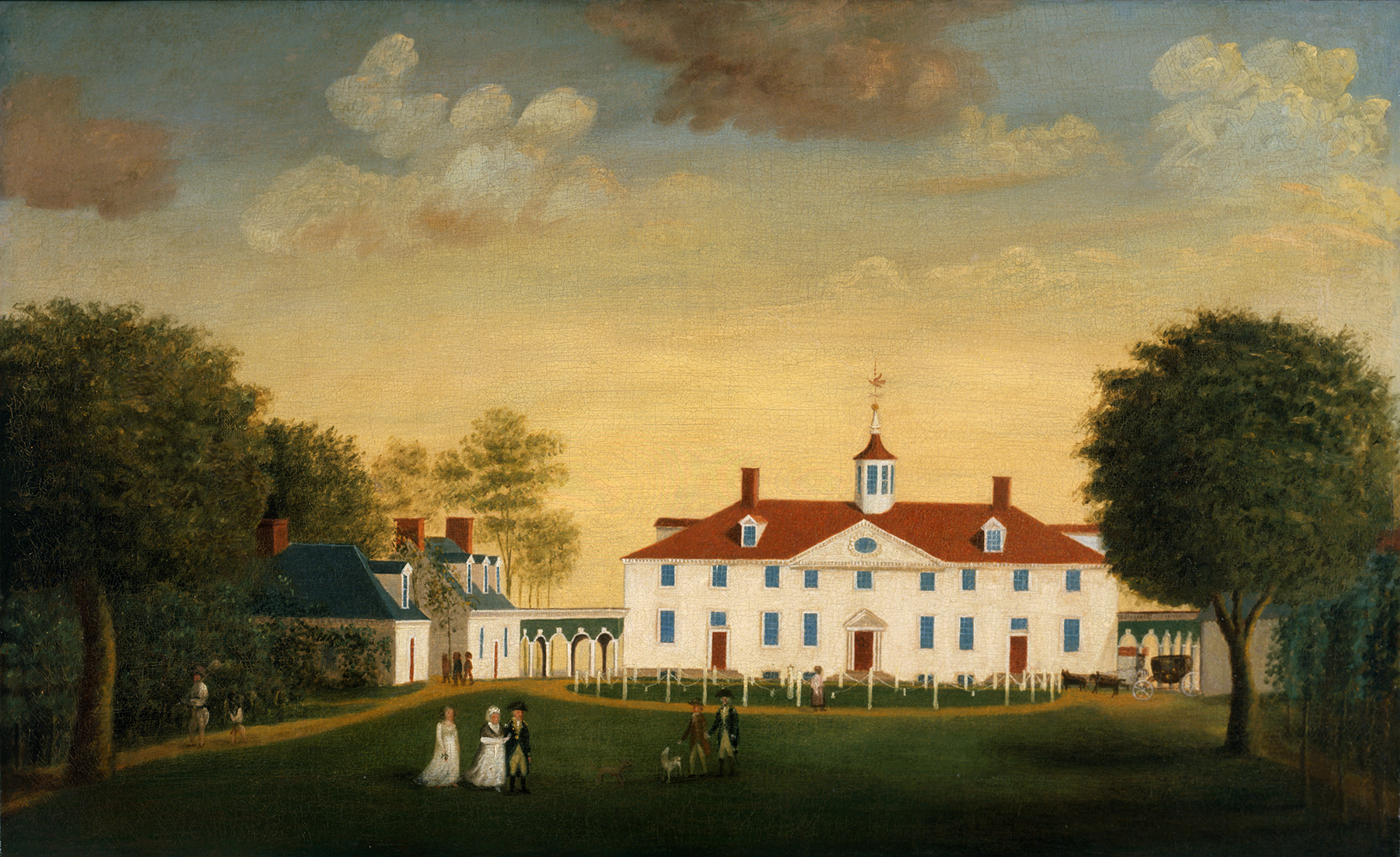 The West Front of Mount Vernon by Edward Savage (American, 1761 - 1817), c. 1787-1792, oil on canvas, H-2445/B, Mount Vernon Ladies' Association, Bequest of Helen W. Thompson.