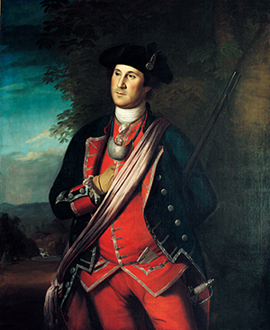 George Washington in 1772.  You can see Washington's 1767 smallsword at his hip. (George Washington as Colonel in the Virginia Regiment, Charles Willson Peale, 1772. Washington-Custis-Lee Collection, Washington and Lee University, Lexington, VA)