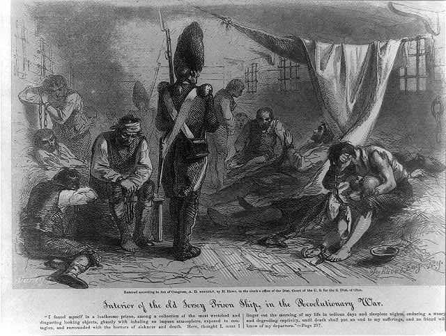 Interior of the old Jersey prison ship, in the Revolutionary War. Courtesy Library of Congress.