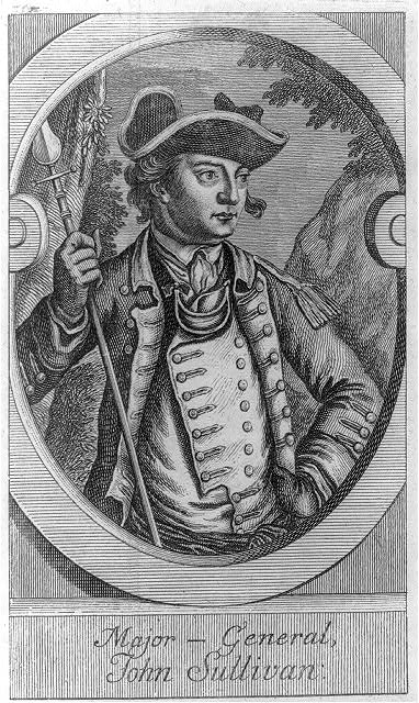 Major General John Sullivan, engraved c. 1778. Appears in  The American Revolution in Drawings and Prints, Compiled by Donald H. Cresswell, 1975.  Library of Congress call number E208 .K84