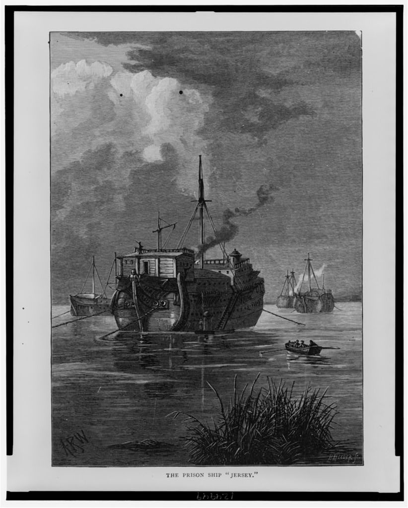 "The prison ship ""Jersey"". Courtesy Library of Congress."