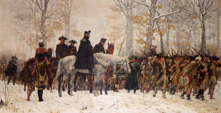 Washington reviewing his troops at Valley Forge by William Trego (Museum of the American Revolution)