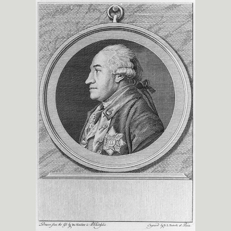 Von Steuben, engraved by Benoit Louis Prevost, after a portrait by Pierre Eugene due Simetière, 1780. National Portrait Gallery number NPG.75.53