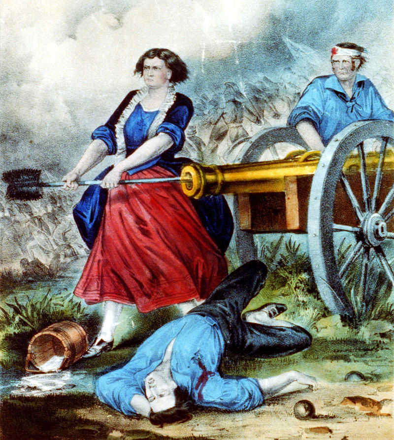 Molly Pitcher: The heroine of Monmouth (Currier and Ives - Library of Congress)