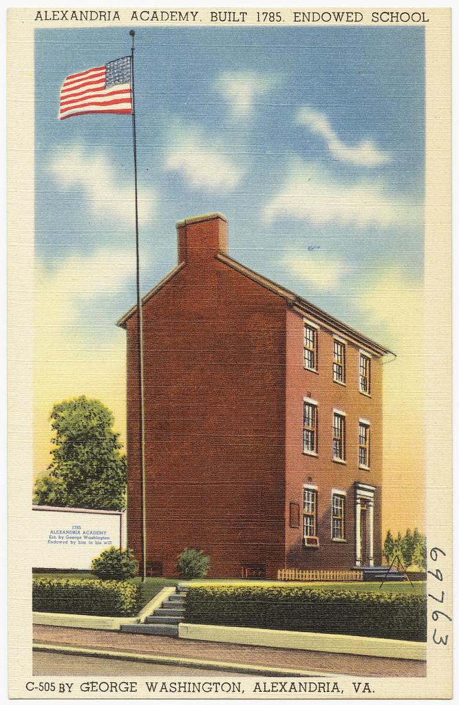 Alexandria Academy postcard ca 1930-1945. Courtesy Wikicommons.