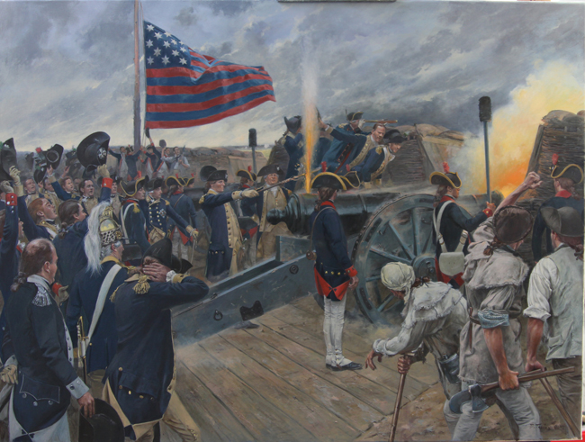 Don Troiani's Yorktown painting on his easel in his Southbury, Connecticut studio (Source: Don Troiani, Historical Art Prints)