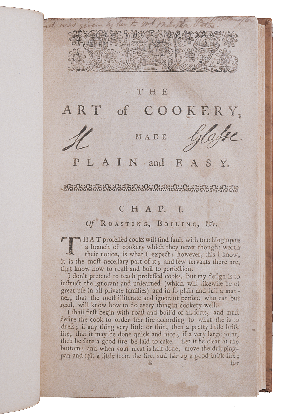 Martha Washington's copy of The Art of Cookery is part of the special collections at the Washington Library (MVLA)