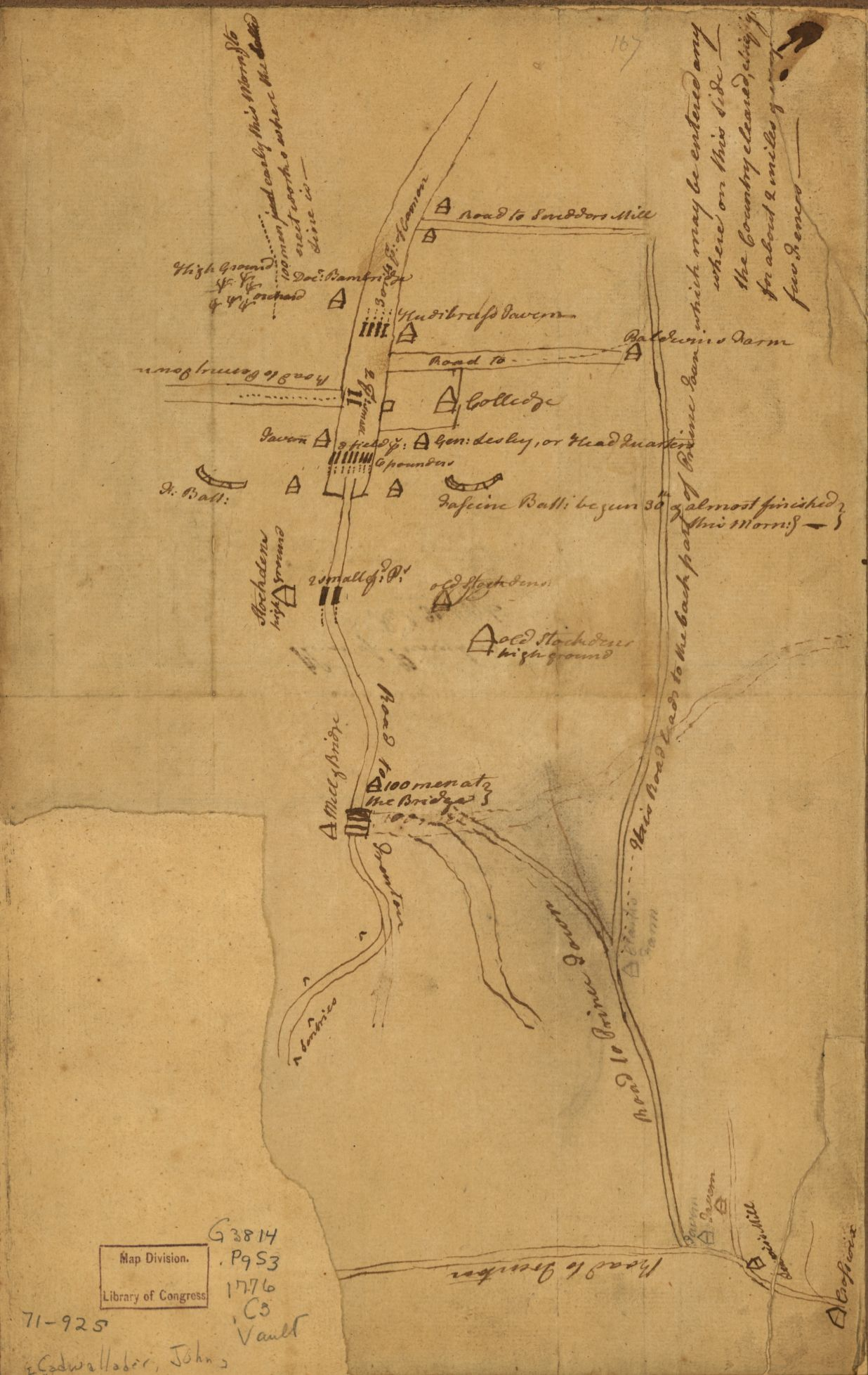 Map of Princeton drawn by American spies - Plan of Princeton, Dec. 31, 1776, Courtesy Library of Congress. [G3814.P9S3 1776 .C3]