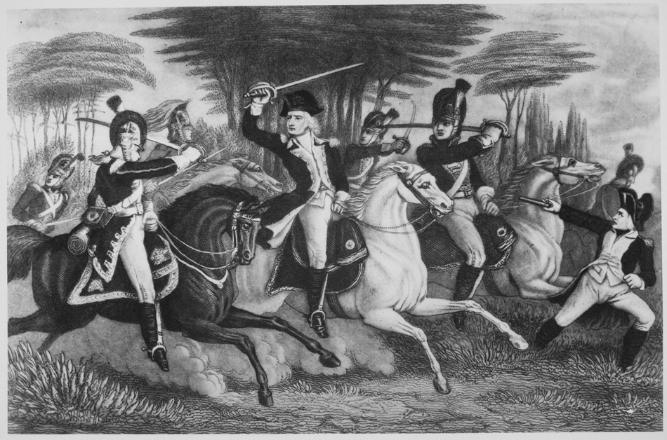 Colonel Washington at the Battle of Cowpens. January 1781. Copy of print by S. H. Gimber., 1931 - 1932. Image via National Archives and Records Administration.