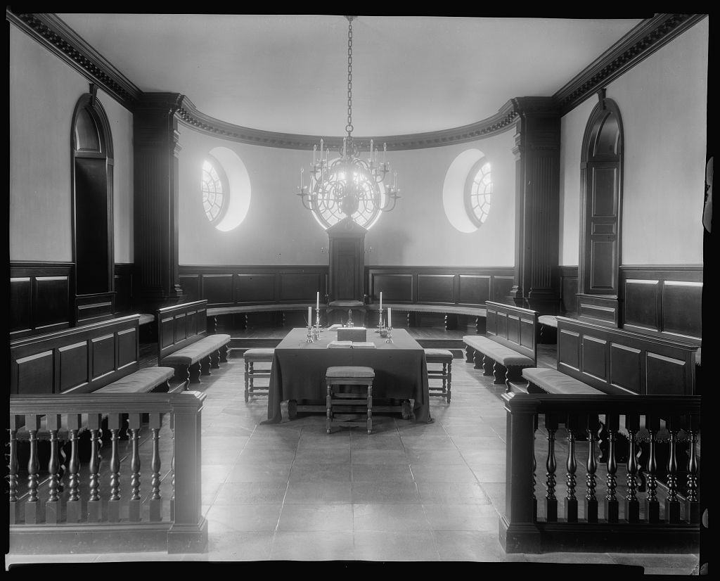 Reconstructed chamber of the House of Burgesses, Williamsburg, VA, c. 1930. George Johnston's father served in the House of Burgesses and was also an attorney who represented Washington. Library of Congress call number LC-J7-VA- 2753 [P&P].