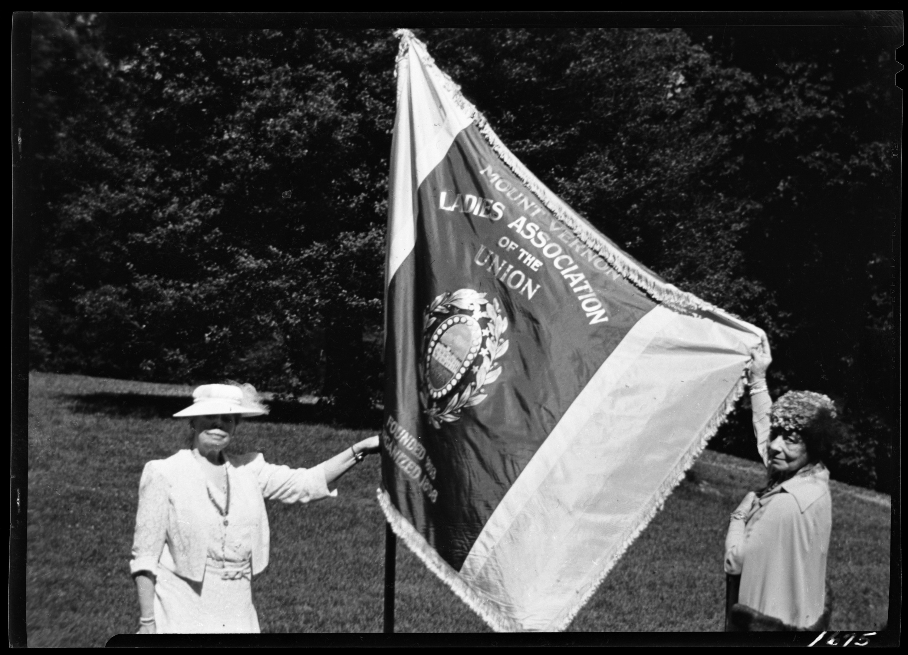 Vice Regents Mrs. Towner & Mrs. Denham with the MVLA Flag - 1939