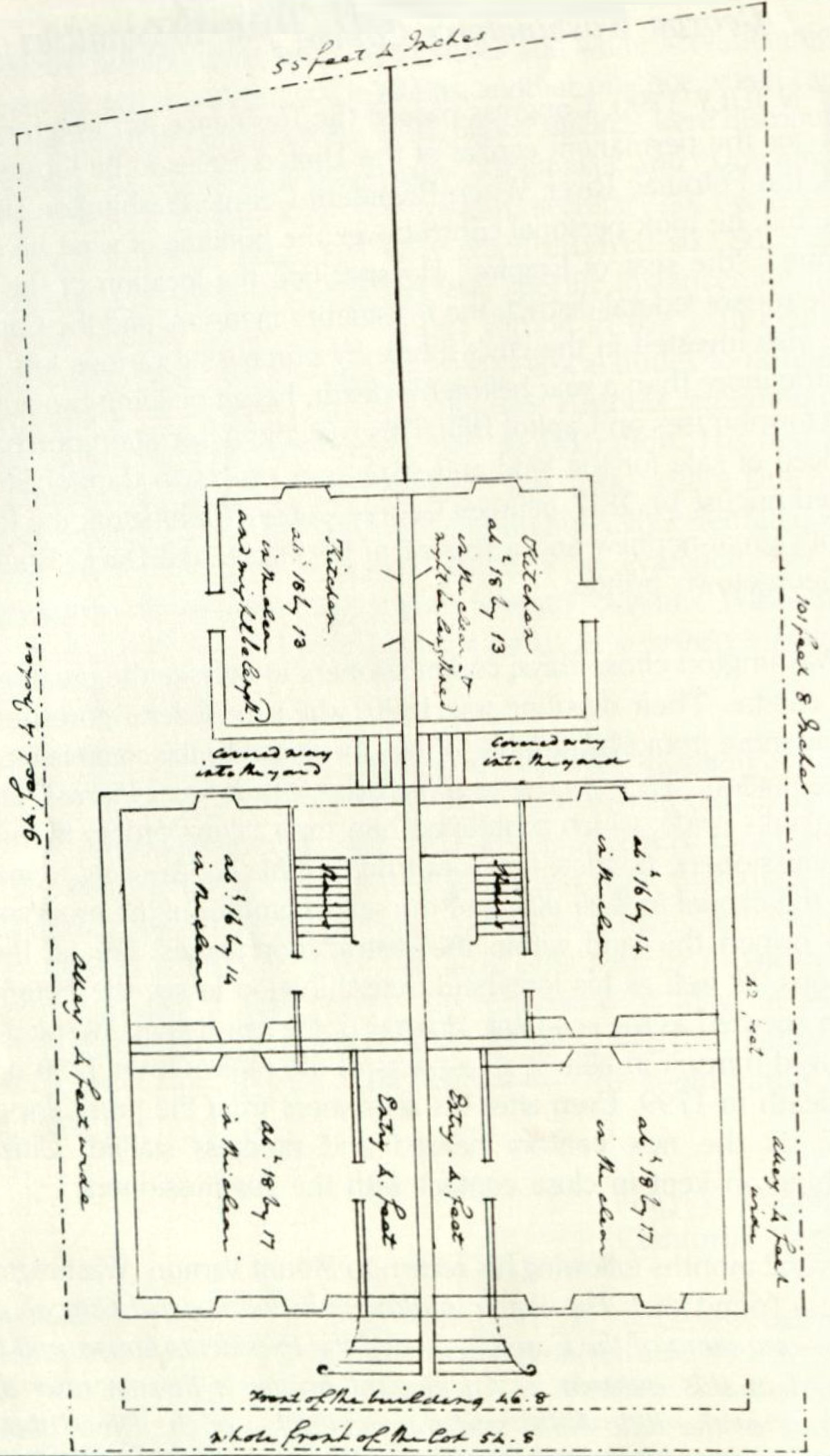 Washington's own sketch of his plan for his townhouses exhibits a view of the ground, second, and third floors. (Courtesy Mr. Albert Small, Washington D.C.)