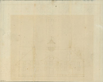 Washington's draft for the West elevation and cellar floor plan.