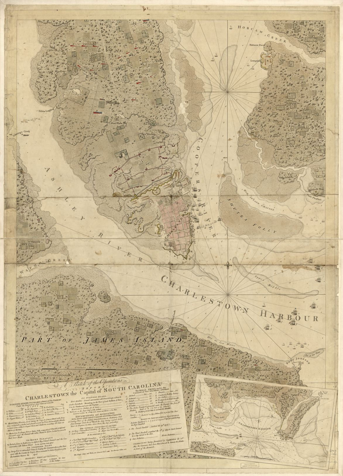 Map of Charleston showing American and British positions, by Joseph F. W. Des Barres, 1780. Call number G3914.C3S3 1780 .D4. Courtesy of the Library of Congress.