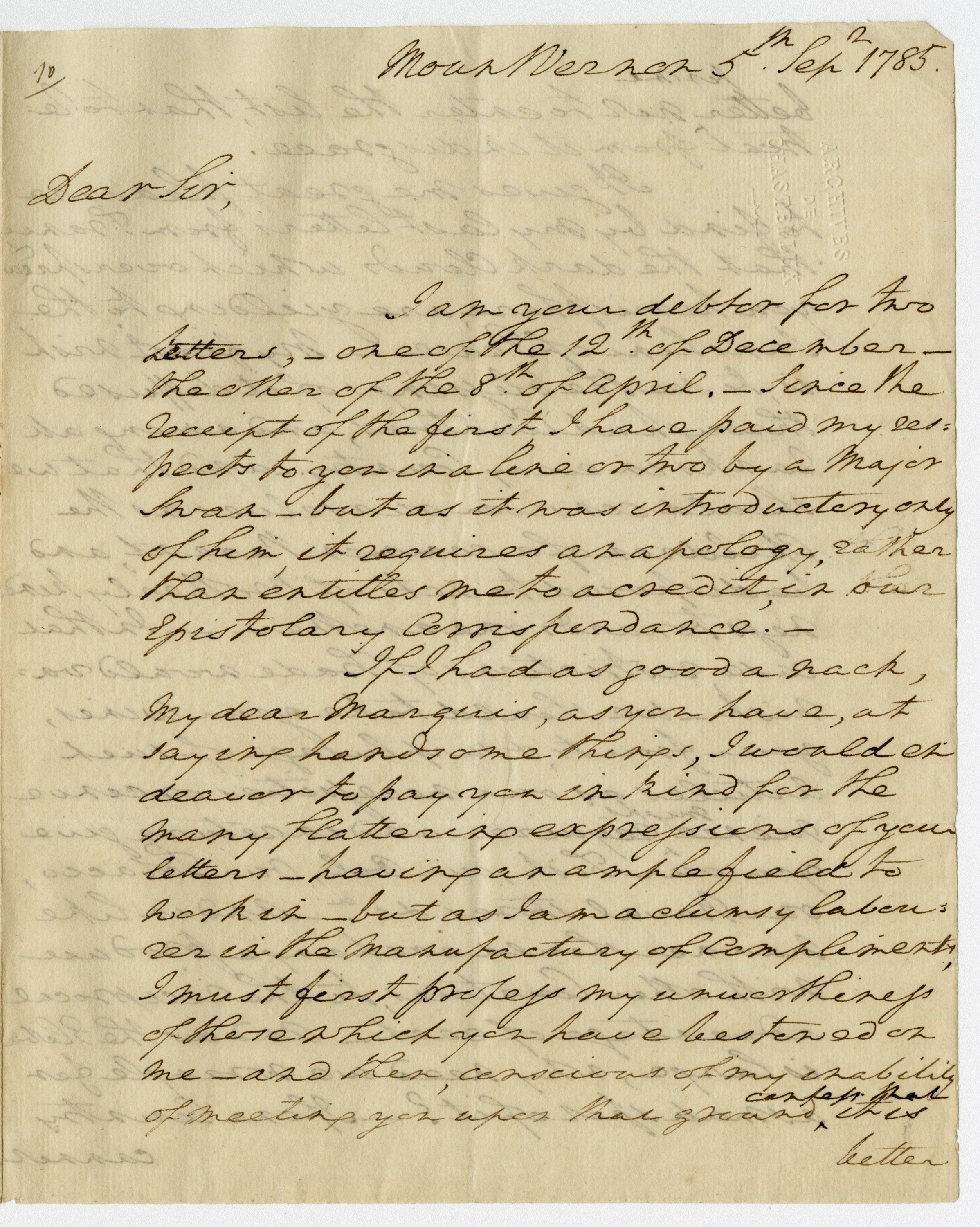 George Washington to Chastellux, 5 September 1785. Washington Library at Mount Vernon. Courtesy of The Life Guard Society of Historic Mount Vernon, Ambassador and Mrs. Nicholas F. Taubman, Mr. and Mrs. James C. Meade.