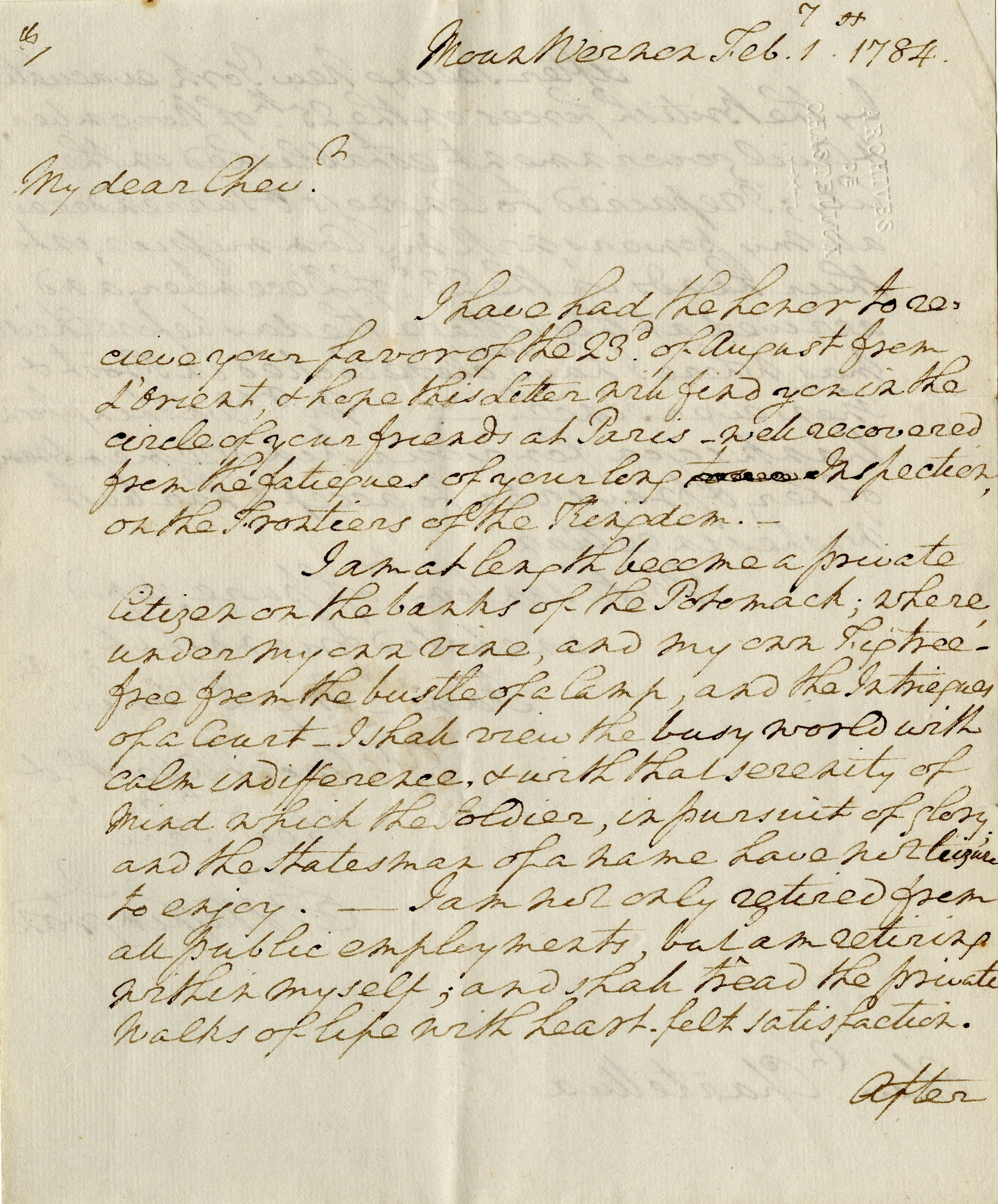 Letter written by George Washington to Chastellux, 1 February 1784. Washington Library at Mount Vernon. Courtesy of Ann and Hugh Scott III.