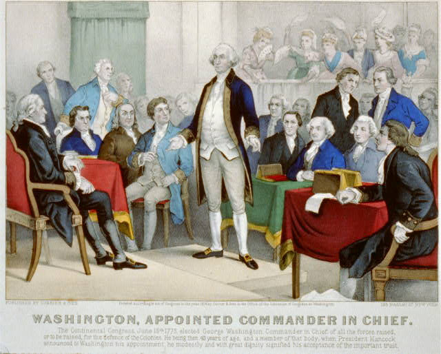 Currier and Ives published this lithograph depiction of Washington's appointment as Commander-in-Chief in 1876. The artists showed Washington in his buff and blue uniform. Library of Congress, catalogue number 2002698163