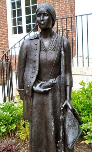 Statue of Deborah Sampson at the Sharon Massachusetts Public Library. Courtesy staff photo.