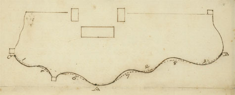 George Washington's drawing of the deer park wall at Mount Vernon.
