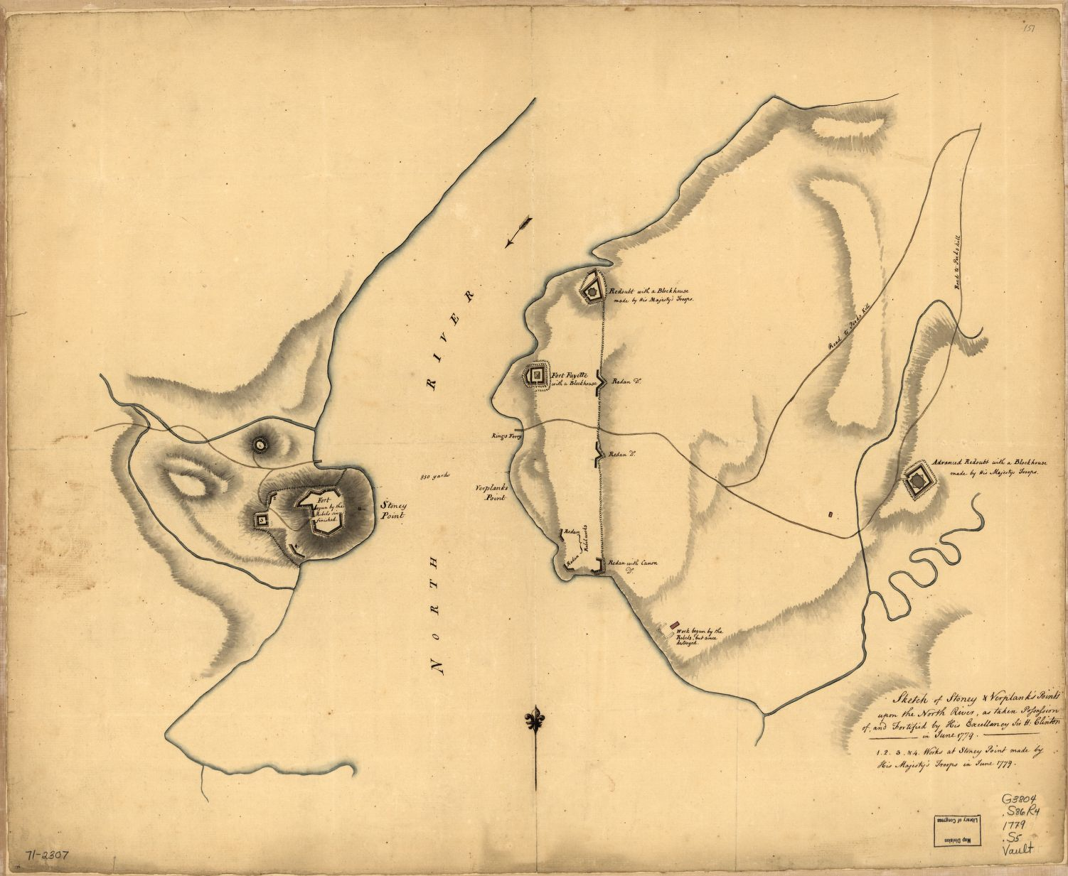This map details the initial American fortifications at Stony and Verplank's Points along with British additions - Sketch of Stoney & Verplank's Points upon the North River, as taken possession of, and fortified by His Excellency Sir H: Clinton in June 1779, [G3804.S86R4 1779 .S5]. Courtesy Library of Congress, Washington, D.C.