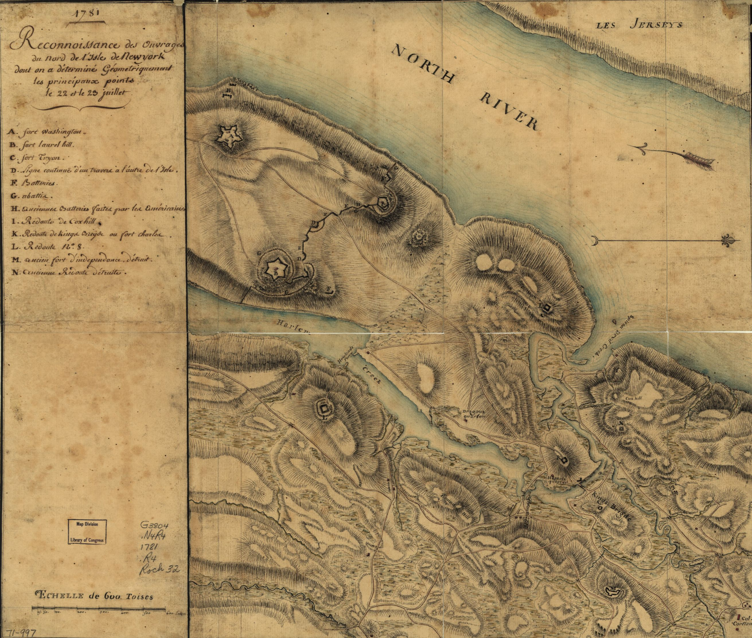 During their occupation of New York, the British removed a significant amount of trees from the island of Manhattan in order to construct fortifications. Reconnoissance des ouvrages du nord de l'Isle de Newyork dont on a déterminé géometriquement les principaux points le 22 et le 23 juillet. Courtesy Library of Congress. [gm71000997].