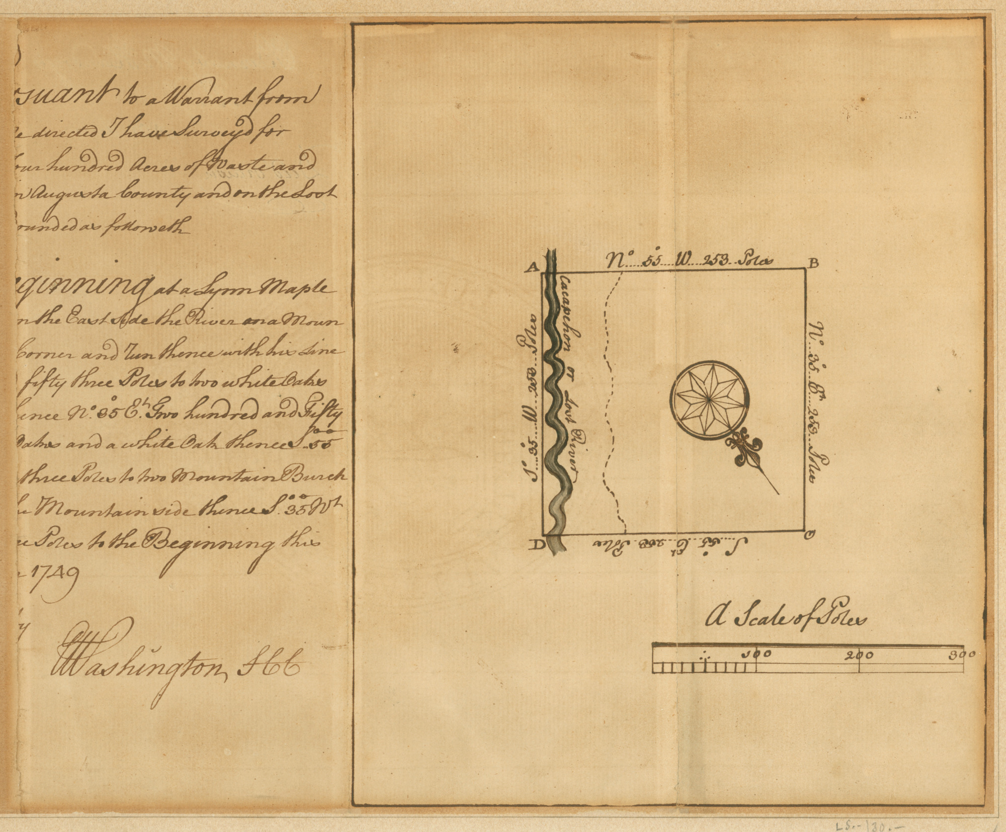 "George Washington drafted this survey for Barnaby McHandry in 1749. Signed ""Washington, SCC"" (for Surveyor of Culpeper County), this survey details 400 acres on the border of Augusta County, Virginia, along the Cacapehon (Cacapon) or Lost River [MS-5828]"