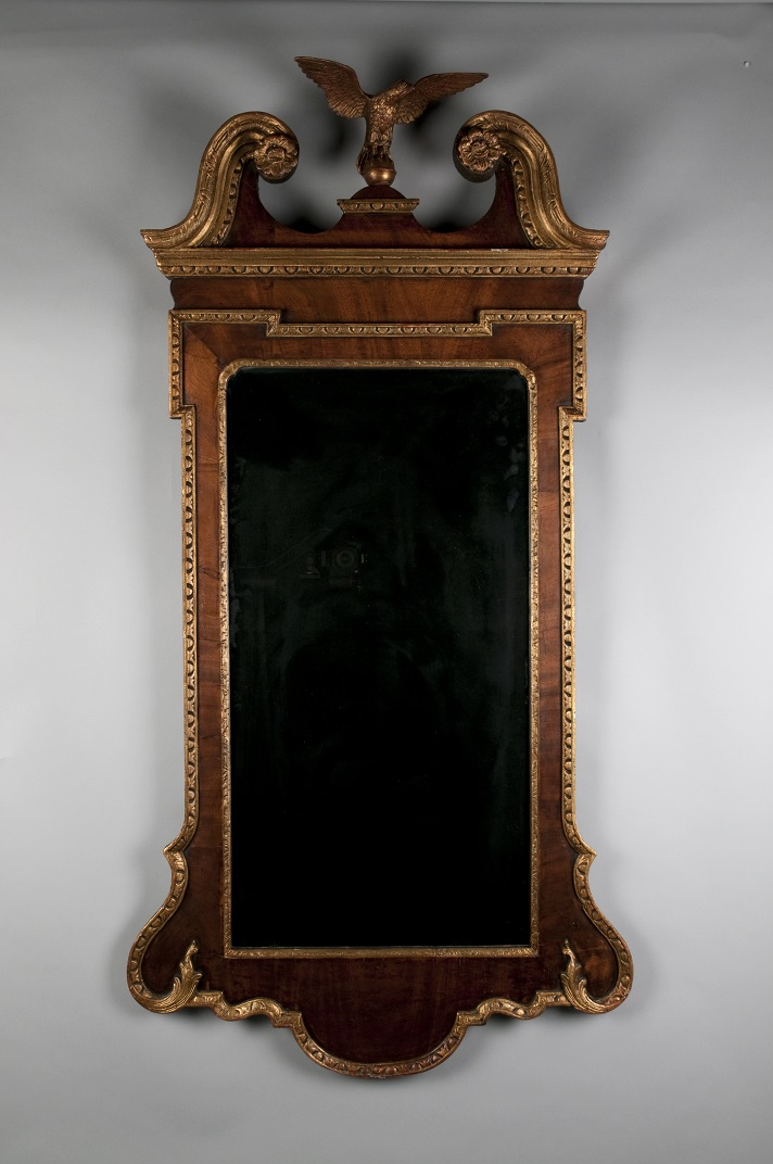 The looking glass for the Blue Room before treatment, sporting a Colonial Revival-style cast brass eagle at top. (MVLA –W-106)