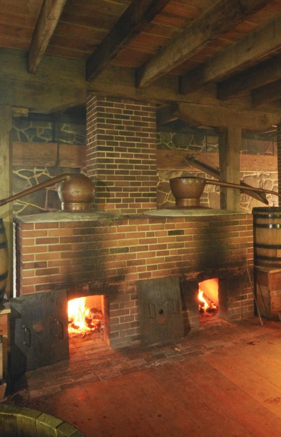Two of the copper stills within Washington's Distillery in action (Russ Flint)