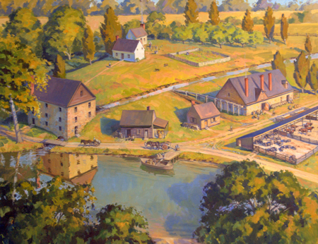 The distillery and gristmill as they would have appeared in 1799.