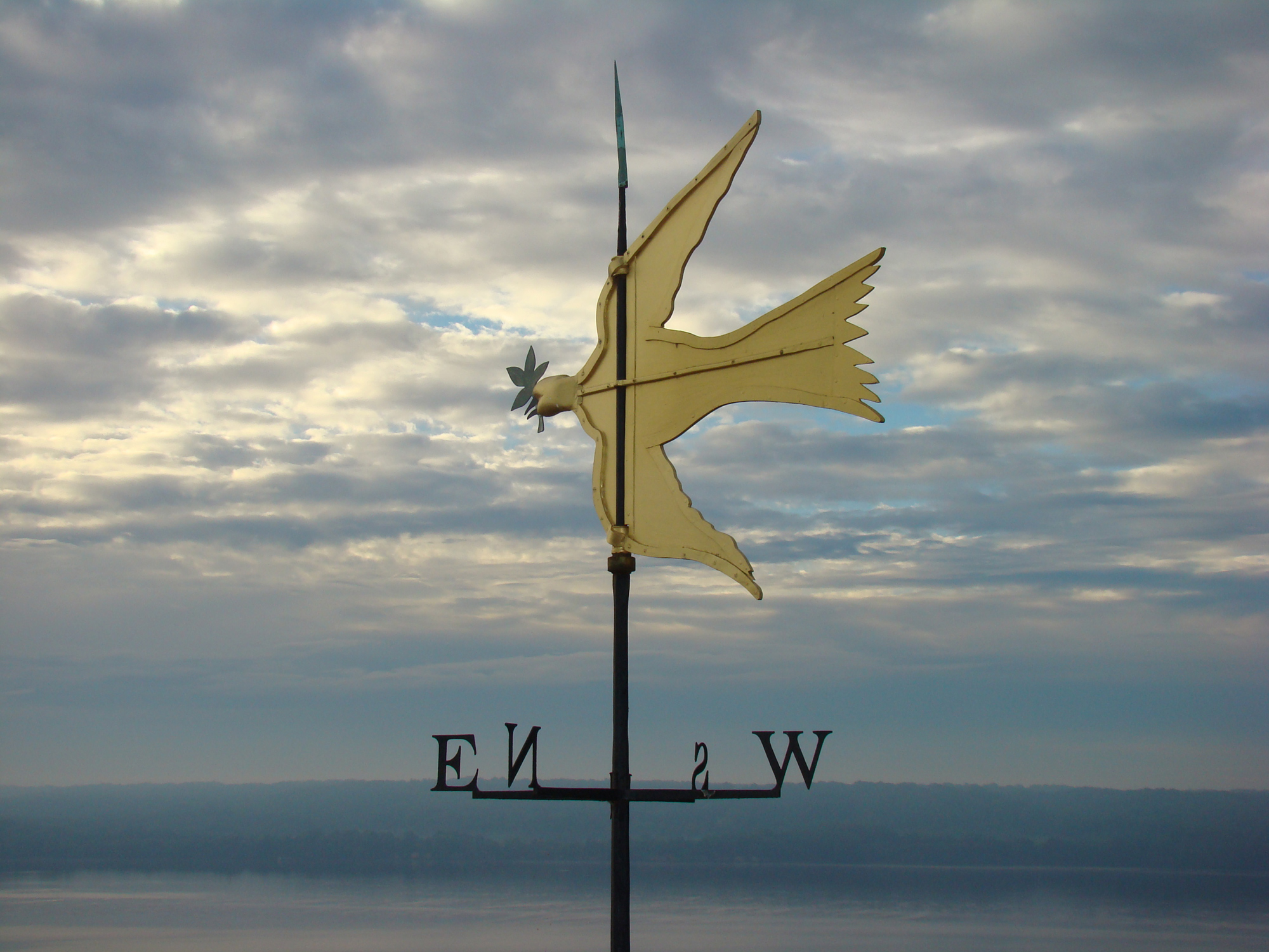 The Dove of Peace weathervane atop the cupola