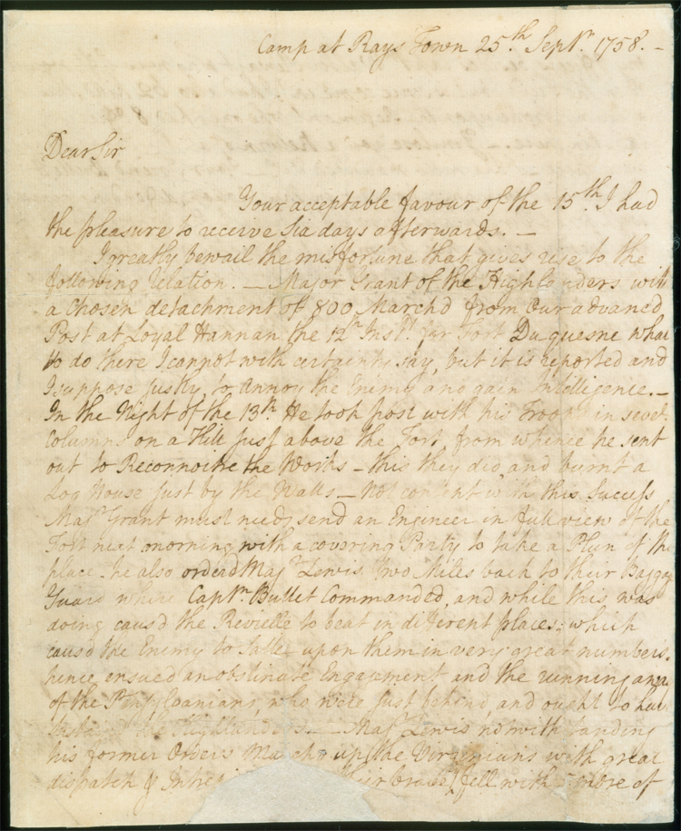 Letter from George Washington to George William Fairfax, discussing the expedition to Fort Duquesne, dated September 25, 1758.