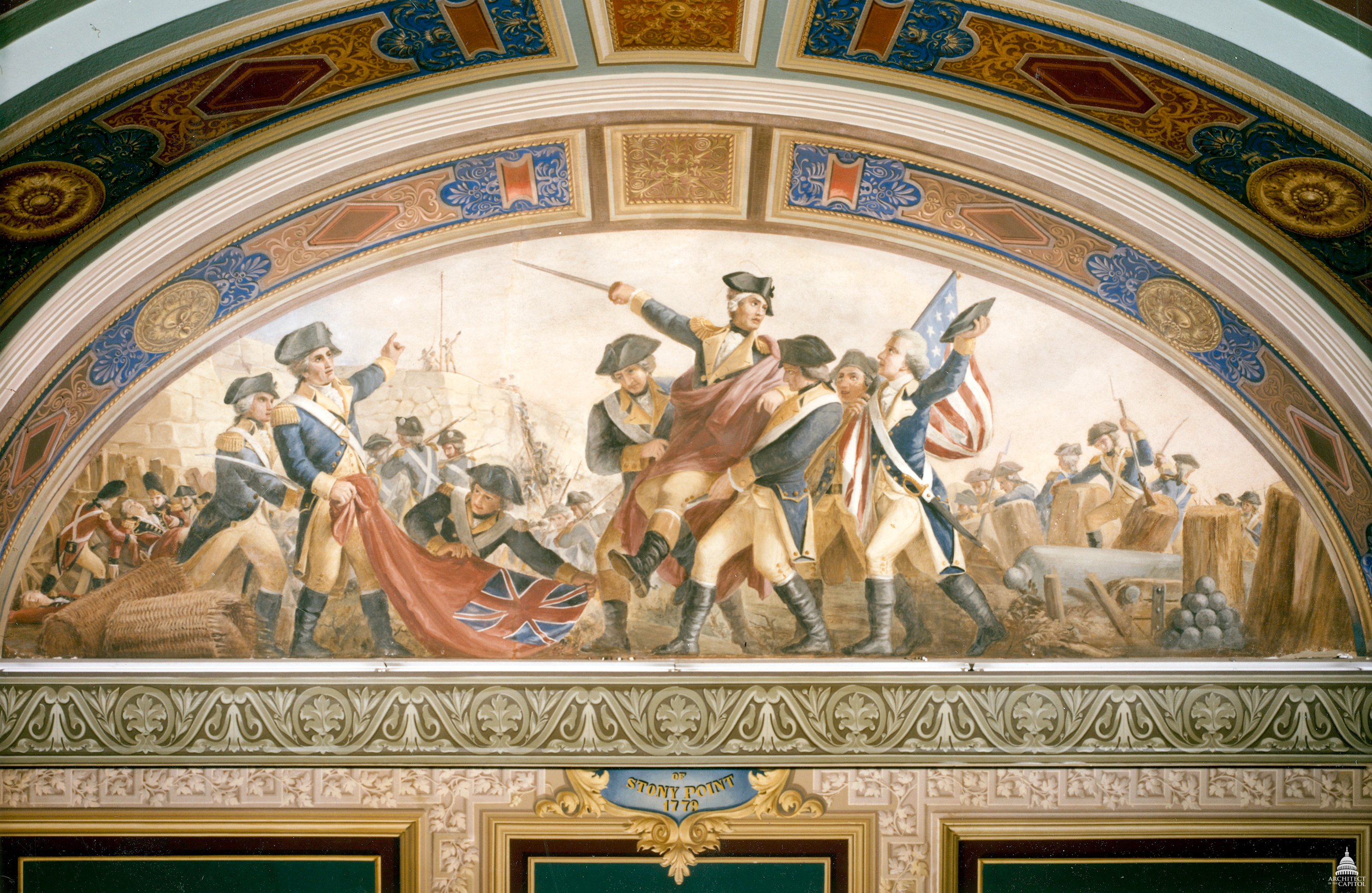 Fresco depicting the capture of Stony Point located in the U.S. Capitol - The Storming of Stony Point, by Constantino Brumidi. [Room S-128]. Courtesy Architect of the Capitol.