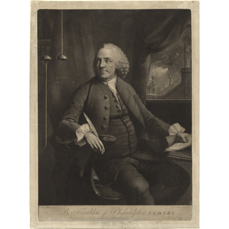 This engraving of Benjamin Franklin, by Edward Fisher after Mason Chamberlin's 1762 portrait, was created while Benjamin Franklin was living in London. National Portrait Gallery NPG.70.66.