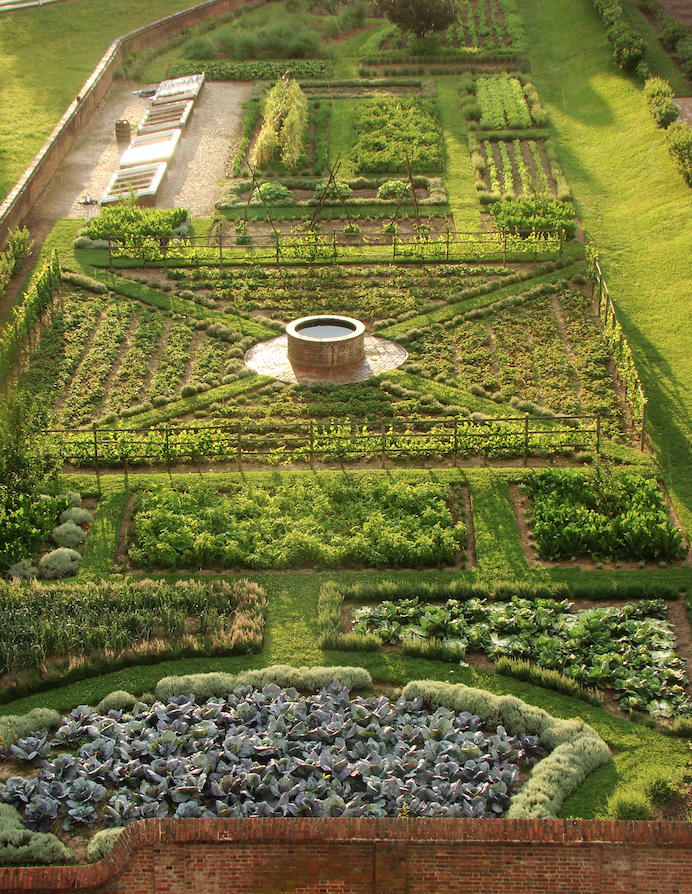 Aerial view of the Kitchen Garden at Mount Vernon