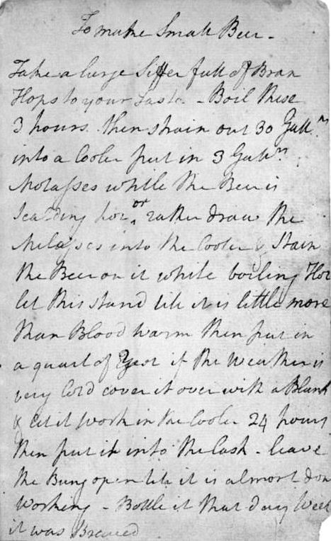 George Washington's Recipe for Small Beer, ca. 1757. Courtesy New York Public Library.