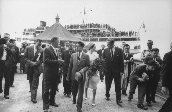 Prince Akihito and wife Princess Michiko arriving by Steamship - © Getty Images