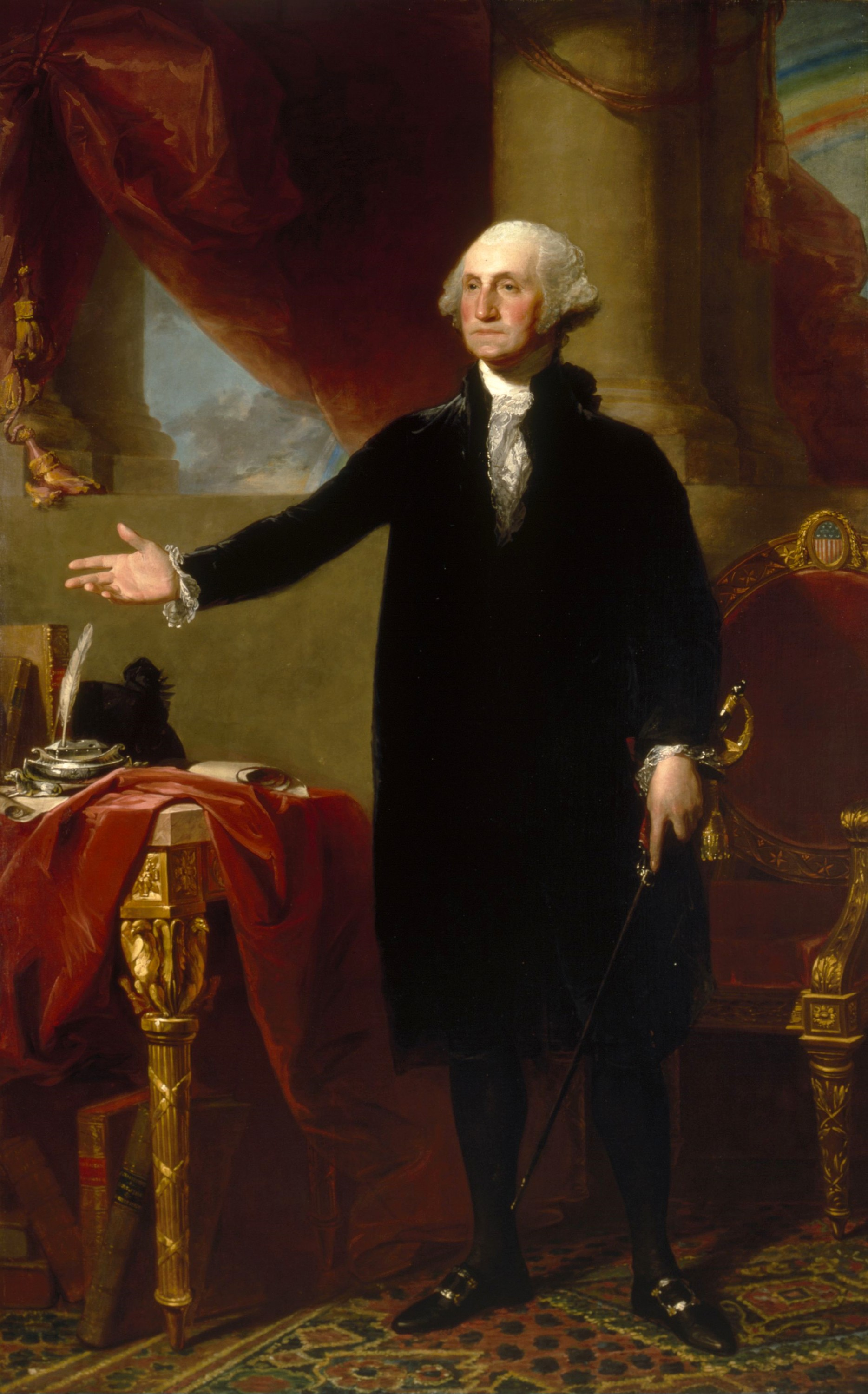George Washington intentionally did not sit for this presidential era portrait while wearing military attire.  He wanted to emphasize the Office of the President's civilian nature. - George Washington, Gilbert Stuart, ca. 1796. [NPG.2001.13]. Courtesy National Portrait Gallery, Smithsonian Institution.