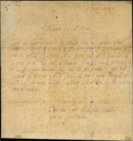 Martha Parke Custis's Great Cake recipe.